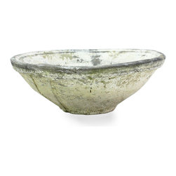 Rustic Terra Cotta Bowl - 10 x 3.25 - The finish of this Rustic Terra Cotta Bowl is a pale, naturally weathered hue called Whitestone, but white is only one of its shades; marble paleness and worn greys mottle the rough clay of the vessel, creating a look of timelessness.  This wide bowl has the hand-thrown proportions that suit a classically-inspired centerpiece particularly well, but is also exquisite in the garden.