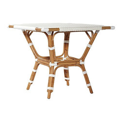 Monaco Bistro Table - I love this sidewalk café–inspired bistro table in a contrasting mix of natural rattan and durable woven plastic in crisp white. It's chic and casual, the perfect California blend.