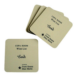 Cool Culinaria - Copa Room Frank Sinatra/ Dean Martin 1959 Coaster (Set of 4) - Artwork adapted from the original Copa Room, Las Vegas, 1959 Menu Art. Set of four cork-back coasters with a wipe clean hard wearing gloss-finish surface. Made in USA.