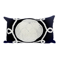 "Trans-Ocean Inc - Ornamental Knot Navy 12"" x 20"" Indoor Outdoor Pillow - The highly detailed painterly effect is achieved by Liora Mannes patented Lamontage process which combines hand crafted art with cutting edge technology. These pillows are made with 100% polyester microfiber for an extra soft hand, and a 100% Polyester Insert. Liora Manne's pillows are suitable for Indoors or Outdoors, are antimicrobial, have a removable cover with a zipper closure for easy-care, and are handwashable.; Material: 100% Polyester; Primary Color: Navy;  Secondary color: white; Pattern: Ornamental Knot; Dimensions: 20 inches length x 12 inches width; Construction: Hand Made; Care Instructions: Hand wash with mild detergent. Air dry flat. Do not use a hard bristle brush."