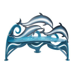 Cricket Forge - Dolphin Bench - The Dolphin Bench is for anyone who loves the sea, enjoys watching the playful banter of dolphins, or is just simply in awe of their majestic beauty. This bench depicts the vitality, playfulness and movement of this beautiful creature. Airbrushed using various shades of blue and white.