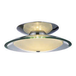 ET2 Lighting - Curva 3-Light Flush Mount Saucer Lamp - You gotta admit, aliens have a knack for design. This lamp imitates the flying saucer look with two smooth, curved disks of polished chrome and bent opal glass that send light reflections swimming around the edges just like a hovercraft. Interior frosted white lights glow with a mysterious, otherworldly beauty.