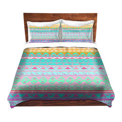 DiaNoche Designs - Duvet Cover Twill by Nika Martinez - Summer Bandana - Lightweight and soft brushed twill Duvet Cover sizes Twin, Queen, King.  SHAMS NOT INCLUDED.  This duvet is designed to wash upon arrival for maximum softness.   Each duvet starts by looming the fabric and cutting to the size ordered.  The Image is printed and your Duvet Cover is meticulously sewn together with ties in each corner and a concealed zip closure.  All in the USA!!  Poly top with a Cotton Poly underside.  Dye Sublimation printing permanently adheres the ink to the material for long life and durability. Printed top, cream colored bottom, Machine Washable, Product may vary slightly from image.