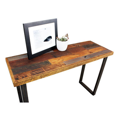 what WE make - reclaimed patchwork wood hall table with metal legs - Handmade in Chicago from local reclaimed wood, this hall table features hand-welded steel metal legs for an industrial look that works with your decor, whether it's classic or modern. You don't have to limit its location to the hallway, either; this table would work beautifully behind a sofa or in your bedroom.
