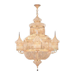 """The Gallery - Moroccan Mosque Crystal Chandelier - 100% Crystal Chandelier, this Empire Chandelier is characteristic of the grand Chandeliers which decorated the finest Chateaux and Palaces across Europe and reflects a time of class and elegance which is sure to lend a special atmosphere anywhere it is placed! This item comes with 18 inches of chain. Size: W 28"""" x H 36"""", 16 Lights. Light bulbs not included. Assembly required."""