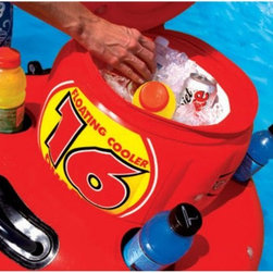 SportsStuff - SportsStuff 16 qt. Floating Cooler Multicolor - 40-1003 - Shop for Floats and Toys from Hayneedle.com! Free-floating has never been more convenient than with the SportsStuff 16-Quart Cooler. This bright red inflatable cooler keeps your beverages cool and close - right with you on the water. Made of a heavy-gauge PVC bladder with heat-sealed seams this cooler features safety valves a full-circumference zippered lid a molded PVC comfort-grip handle and a reinforced rope grommet for easy tie-off. As you float at the beach lake or pool let this cooler trail behind you keeping your refreshments cool. The perfect accessory to all your summer outings.
