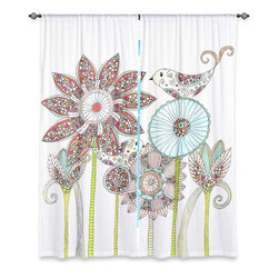 """DiaNoche Designs - Window Curtains Lined by Valerie Lorimer - My Perfect Garden - DiaNoche Designs works with artists from around the world to print their stunning works to many unique home decor items.  Purchasing window curtains just got easier and better! Create a designer look to any of your living spaces with our decorative and unique """"Lined Window Curtains."""" Perfect for the living room, dining room or bedroom, these artistic curtains are an easy and inexpensive way to add color and style when decorating your home.  This is a woven poly material that filters outside light and creates a privacy barrier.  Each package includes two easy-to-hang, 3 inch diameter pole-pocket curtain panels.  The width listed is the total measurement of the two panels.  Curtain rod sold separately. Easy care, machine wash cold, tumble dry low, iron low if needed.  Printed in the USA."""