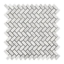 Bianco Carrara Herringbone Marble Mosaic -
