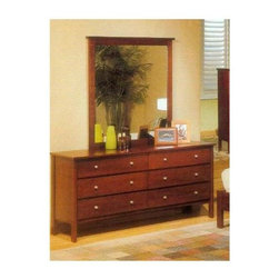 Alpine Furniture - Costa 6-Drawer Dresser - Mirror not included. Six months warranty. Made from select solids and veneer. Medium cherry finish. Made in Indonesia. No assembly required. Mirror thickness: 1 in.. Optional mirror: 38 in. W x 40 in. H. Dresser: 63 in. W x 18 in. D x 31 in. HEmmy award winning TV show clean house on the style network.