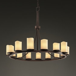 None - Dark Bronze 15-light Melted Rim Ring Cylinder Chandelier - This 15-light single-tier chandelier gives off beautiful lighting to any large room. This chandelier is designed with cylinder faux candle resin shades with melted rims and its frame is finished with dark bronze.