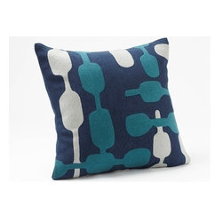 """Coyuchi - Overlap Crewel Dec Pillow 16""""x16"""" Indigo w/Deep Dusty Aqua-Pewter - Modern shows its warm side in a pattern of linked organic shapes embroidered in wool across subtly textural linen. Our removable pillow cover comes with a kapok insert. Coconut shell buttons close the back."""