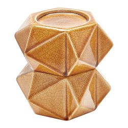 Lazy Susan - Lazy Susan Large Honey Ceramic Star Candle Holders (Set of 2) - Handcrafted In Earthenware And Finished In A Rich Honey Tone Glaze These Geometric Forms Are Based On Origami. Origami Is Now Considered A Modern Art Form After Being Popularized Outside Of Japan In The Mid-90'S. Originating in Japan in 1981 Lazy Susan is an innovative furniture and home accessories company. With a clean and simple design aesthetic the company is focused on creating curated eclectic home collections. Inventively mixing modern and traditional design elements every piece is unique and beautiful with a foundation in classic design styles. Each season Lazy Susan incorporates current trends with inviting color palettes to create beautiful collections that inspire and behold. During the design and development process they strive to create pieces that blend effortlessly with personal heirlooms arrange comfortably in collection groups as well as stand alone as room defining focal points. Their goal is to develop collections that compliment living spaces and express personal style. Artisans from around the globe are an integral part of bringing the Lazy Susan collections to life. Working with local craftsmen provides the unique opportunity to find and mix eco-friendly regional natural resources into the product collections. Uncommon materials pairings help create visually exciting and stimulating pieces with strong roots in the natural beauty of organics. Commitment to design excellence and creative originality has allowed Lazy Susan to build relationships with many of the hottest home accessory and furniture retailers across the United States. Premier domestic and international hotels resorts event designers and television programs come to Lazy Susan for distinctive pieces on the leading edge of style and trends. On November 1 2013 ELK GROUP International a premier designer and importer of lighting fixtures decorative accessories and furniture acquired Lazy Susan. Through a combina