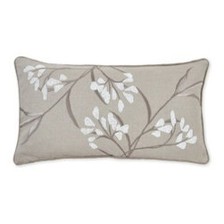 Silver Nest - White Buds Down Pillow- 14x26 - 100% Linen Beaded & Embroidered front. Set of two pillow covers with hidden zippers. Feather inserts included. Inserts are 95/5. Priced individually, must be sold as set of 2.