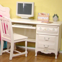 American Woodcrafters - Summerset White Computer Desk w 2 Drawers & K - When it comes to studying, traditional young ladies should have their own desk. It's a beautiful addition to the Summerset Collection, carrying out the romantic floral and antique theme. Modern touches include the slide-out keyboard tray and two side drawers for storage. Summerset Collection. 2 Drawers and pull-out keyboard tray. Chair not included. Solid wood drawer sides and backs. Veneer drawer bottoms. Drawer fronts are reconstituted MDF wood fibers. Center guided drawers, metal to metal and plastic to plastic with positive drawer stops. Solid wood and wood veneer construction. 1-Year manufacturer's warranty. 48 in. W x 22 in. D x 30 in. H (107.90 lbs.)
