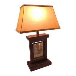 n/a - Brown Photo Panel Table Lamp with Fabric Shade 24 Inch. - Add a personalized accent to any table in your home with this photo panel lamp. It measures 24 inches tall and has a 9 3/4 inch long, 5 1/2 inch wide resin base. The base is brown, has a speckled finish, and contains a space in the center for a 5 inch by 7 inch photograph of family, friends, pets, or your favorite scenery. The fabric shade measures 15 inches long, 8 3/4 inches high, and 9 1/4 inches wide. The lamp uses 60 watt (max) type A bulb (not included) and has a brown, 5 foot long power cord.