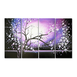 """Fabuart - Purple  Painting Tree with Flowers """"Spring Nights""""  48 x 30in painted on canvas - This beautiful Art is 100% hand-painted on canvas by one of our professional artists. Our experienced artists start with a blank canvas and paint each and every brushstroke by hand."""