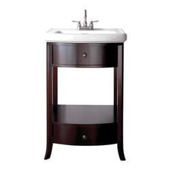 Pegasus - Parisian 24 in. Vanity in Espresso Finish - 3 - Manufacturer SKU: 3017VS24. Faucet not included. One shelf and two drawers. Integrated vitreous China top. Made from wood. 24.4 in. W x 20.8 in. D x 35 in. H (81.4 lbs.)