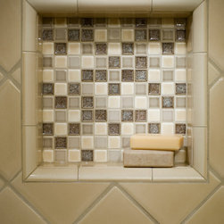 """Bathrooms - Sonoma Tilemakers Mosuprema 1""""x1"""" custom blend in the shower niche and Stellar field tile."""