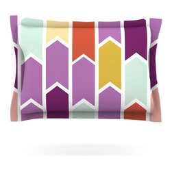 "Kess InHouse - Pellerina Design ""Orchid Geometric Chevron"" Purple Arrows Pillow Sham (Cotton, 3 - Pairing your already chic duvet cover with playful pillow shams is the perfect way to tie your bedroom together. There are endless possibilities to feed your artistic palette with these imaginative pillow shams. It will looks so elegant you won't want ruin the masterpiece you have created when you go to bed. Not only are these pillow shams nice to look at they are also made from a high quality cotton blend. They are so soft that they will elevate your sleep up to level that is beyond Cloud 9. We always print our goods with the highest quality printing process in order to maintain the integrity of the art that you are adeptly displaying. This means that you won't have to worry about your art fading or your sham loosing it's freshness."