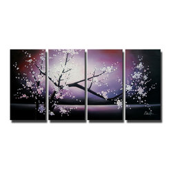 None - 'Plum Blossom' 3-piece Gallery-wrapped Canvas Art Set - Artist: UnknownTitle: Plum BlossomProduct type: Hand painted 3-piece gallery wrapped canvas art set