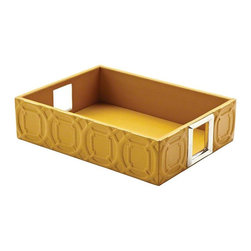 Global Views - Global Views Arabesque Trapunto Rectangle Tray in Mustard - Trapunto, gives a raised relief of stitched design in our classic Arabesque pattern. These well scaled items are made with top grain, cowhide leather.