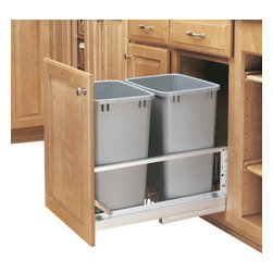 "Rev-A-Shelf - Rev-A-Shelf 5349-18DM-217 Double 35 Qt Soft Close Pullout Waste Container-Silver - This unit allows you to store your waste out of view, but is still conveniently located for use inside one of your cabinets. This Bottom Mount Waste Container features (2) 35 Quart Silver colored polymer waste baskets and built in door mount brackets for easy mounting to your cabinet door face. The Rev-A-Shelf 5349-18DM-217 Pullout Cabinet Organizer includes a Soft Close Mechanism so the containers glide in and out with ease. Once installed, the containers are easily removable to clean underneath, giving you the ability to keep your kitchen spotless. Physical specifications: 14-13/16"" W x 22-1/8"" D x 19-1/4"" H. Please make sure that your cabinet has an minimum opening of at least 15"" W x 22-3/8"" D x 19-1/2"" H to ensure a proper fit."