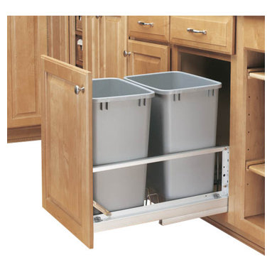 """Rev-A-Shelf - Rev-A-Shelf 5349-18DM-217 Double 35 Qt Soft Close Pullout Waste Container-Silver - This unit allows you to store your waste out of view, but is still conveniently located for use inside one of your cabinets. This Bottom Mount Waste Container features (2) 35 Quart Silver colored polymer waste baskets and built in door mount brackets for easy mounting to your cabinet door face. The Rev-A-Shelf 5349-18DM-217 Pullout Cabinet Organizer includes a Soft Close Mechanism so the containers glide in and out with ease. Once installed, the containers are easily removable to clean underneath, giving you the ability to keep your kitchen spotless. Physical specifications: 14-13/16"""" W x 22-1/8"""" D x 19-1/4"""" H. Please make sure that your cabinet has an minimum opening of at least 15"""" W x 22-3/8"""" D x 19-1/2"""" H to ensure a proper fit."""