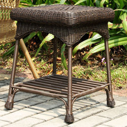 "Jeco - Outdoor Espresso Wicker Patio End Table - ""The Outdoor Wicker End Table is a nice complementary piece for your patio set, and it's also a nice accent piece indoors. This end table looks great with our outdoor wicker chairs and loveseats. Although it displays the classic beauty of natural wicker, the table is actually hand woven, all-weather resin wicker with a sturdy steel frame. You can leave this piece out year round and it won't deteriorate. A wonderful addition to any patio grouping."