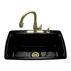 KOHLER - KOHLER K-5863-2-7 Cape Dory Self-Rimming Kitchen Sink with Two-Hole Faucet Drill - KOHLER K-5863-2-7 Cape Dory Self-Rimming Kitchen Sink with Two-Hole Faucet Drilling in BlackThe Cape Dory kitchen sink offers a functional alternative to the traditional double-basin kitchen sink. Crafted of durable KOHLER(R) Cast Iron, this self-rimming model features a two-hole faucet drilling and offers a large single basin that maximizes work space.