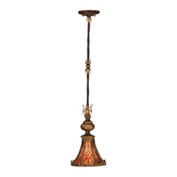 Fine Art Lamps - Villa 1919 Drop Light, 236940ST - Though slender in stature, this drop light will make a substantial style impression in your home. The ornamental fleuron and diamond designs on the natural mica shade lend distinctive appeal.