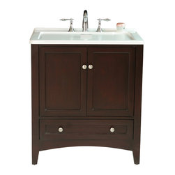 """Stufurhome - 30.50"""" Expresso Laundry Single Sink Vanity - This All-in-One Laundry Single Sink Vanity, draped in dark expresso polish, is a masterful combination of simplicity, functionality and charm. The deep rectangular sink, spacious storage and drawers definitely fulfill the needs of modern day living. The contrasting bright white of the sink and the dark expresso finish of the cabinet make this vanity an attention grabber and add a scent of gracefulness to your laundry room."""