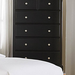Homelegance - Morelle Chest w Drawers (Black) - Finish: BlackSix dovetailed drawers. Metal glides. Molded drawer fronts. Satin nickel knobs. 32 in. W x 19 in. D x 48 in. HThe warmth of cottage living is invoked by the classic styling of the Morelle Collection. The collection is designed with many features perfect for today's casual lifestyle.