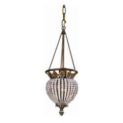 Crystorama - Single Hanging Light Draped with Clear Crystal Beads - Roosevelt pendant draped with clear crystal beads.