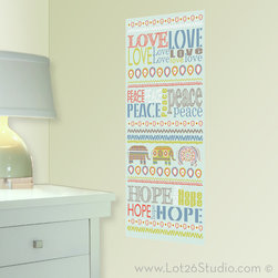 Love Peace Hope Wall Decal Banner - Love, Peace and Hope are three words to live by! This large Global wall decal banner combines typography and an ikat pattern, the perfect statement for a dorm or teen room.