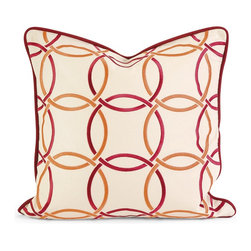 iMax - iMax IK Catina Orange Red Embroidered Linen Pillow w/Down Fill X-26124 - Iffat Khan has developed a luxurious collection of down pillows with embroidered details and top of the line fabrics. Iffat's refined aesthetic is evident in her collection which combines clean modern, classic casual and timeless traditional styles with her own creative twist.