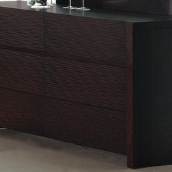 Beverly Hills Furniture - Etch Bedroom Dresser in Wenge Finish - Oak veneer in wenge finish. Six drawers for storage. Horizontally etched drawers faces. Full extension ball-bearing tracks for drawers. Thick solid wood frame. 19 in. W x 60 in. L x 30 in. HCrafted from carefully selected hardwood and oak veneers, the Etch Collection represents a unique combination of design and workmanship. Fully finished at the factory with full extension, ball-bearing tracks that offer smooth, everyday use.  The drawer handles are grooved inside the drawer face for an uninterrupted motif.  Finished with thick boarder wooden frames, a complete unique look for your bedroom for many years to come.