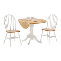 "International Concepts - International Concepts 3 Piece 42"" Round Dining Set in White/Natural - International Concepts - Dinette Sets - K0242DPC2122 -"