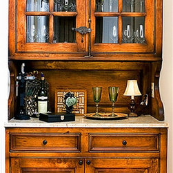 "Cover Photos - The hand built kitchen is built with solid wood construction with over-sized crown. Inset doors are 1-1/8"" thick with antique finish on stained wood finish.  Selected doors contain glass to allow viewable dishware."