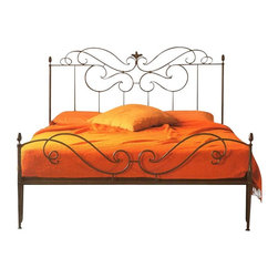 """Caporali - Classico Bed by Caporali - Tuscany, Italy, Full Size - 54"""" X 75"""" - Hand forged in the Caporali workshop (Santa Mama, Tuscany, Italy), the Classico Bed is a traditional Tuscan design celebrating the Fleur-de-lis  symbol commonly used in Florence and also appearing on the currency of Florence - the fiorino. What makes the Classico bed one of the company's best sellers is the integration of vertical pieces in the head board which disappear into the fleur de lis design. This creates a graceful flow of scrolling iron attaching to the vertical and two horizontal pieces with mortise and tenon construction. It is not clear where one scroll of iron ends and another one begins. The footboard design perfectly mirrors the headboard design creating one integrated piece and includes Caporali's renowned """"loop"""" design smartly allowing for the bed comforter to fall naturally between the mattress and the footboard."""