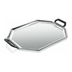 """Alessi - Alessi """"Ottagonale"""" Tray - Do you get too hungry for dinner at eight? Serve up coffee, tea or snacks — in style — with this eight-sided tray. With two, angular black bakelite handles, it's made of high-grade 18/10 stainless steel, polished to a mirror-like shine, so you can see the look on your guests' faces. It matches the coffee and tea service items in this line, but can more than hold its own, as well."""