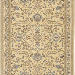 """Karastan - Sierra Mar Ventana Maize Oriental 9'6"""" x 13'2"""" Karastan Rug (33007) - Comfortable, weathered, easy to live with color, is the signature style of the Sierra Mar collection, with relaxed patterns that complement both traditional and modern design. Woven in the U.S.A., the pure New Zealand worsted wool yarns have been specially twisted and space-dyed to create artful color 'stria' reminiscent of fine hand woven 'Peshawar' rugs."""