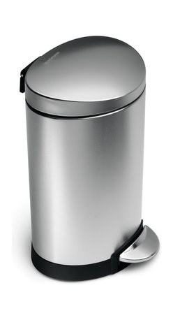 simplehuman - 6 Litre Semi-Round Step Can - Add some mettle to your pedal. The lid opens smoothly with foot pressure, and there's even a removable inner bin for easy cleaning. With this little can by your side, you are steps away from style and tidiness.