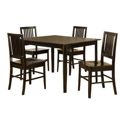 Homelegance - Homelegance Curtis 5 Piece Rectangular Dining Room Set in Dark Espresso - Take a fresh approach to casual dining with the Curtis Collection. This dinette set in wenge finish is flanked by slat back chair in wooden seat.