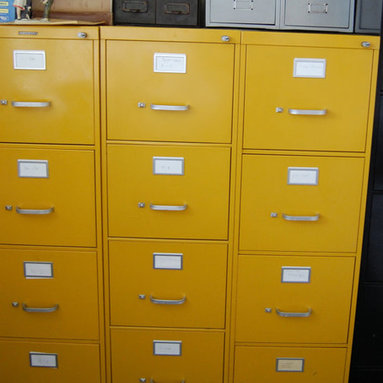 Vintage Bright Yellow Metal Steelcase File Cabinet by msmenimo - A yellow filing cabinet? Yes please! I love anything vintage/industrial combined with yellow!