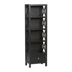 Linon - 4 Shelf Tall Narrow Bookcase in Antique Black - Soaring height and sophisticated appearance define this Anna Collection Bookcase. Four spacious shelves provide ample surface area for your items. Great as a bookcase, this Anna Collection offering also excels as media storage center. Delightful X-frame sides add pleasant accents and extra frame strength. Constructed with only choice pine, it's built for years of dependable performance. Anna Collection. 5 Shelves including the top. Drawer provides convenient storage for your magazines, remotes or other items. Solid and durable construction from Pine and painted MDF. Minimal assembly required. 22 in. W x 15 in. D x 72.20 in. HWhether your decor is traditional or modern the stunning Antique Black Anna Bookcase will blend seamlessly into your home. Five shelves (including the top) offer ample room to display your favorite art objects or keepsakes and the drawer provide convenient storage for your magazines, remotes, or other items.