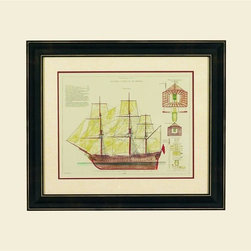 Bassett Mirror - Antique Ship Plan VIII in Nautical-Theme Fram - Add a vintage look to your home's decor with this framed art print, featuring a detailed antique ship plan sketched on creamy ivory paper. Hang the work alone or pair it with an optional coordinating print, Antique Ship Plan VII, for a more dramatic wall grouping. 28 in. L x 24 in. H (8 lbs.)