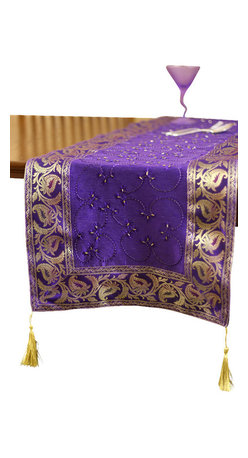 """Banarsi Designs - Hand Embroidered 72-Inch by 17-Inch Table Runner, Plum Purple - The artistic """"Hand Embroidered Table Runner"""" from our Exclusive Banarsi Designs Collection transforms any tabletop into a visual masterpiece. Our unique decorative table runner is made in India and features an abstract pattern that incorporates techniques using hand embroidery throughout the entire decorative pattern."""