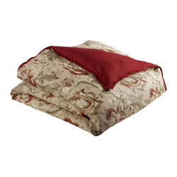 """Mystic Valley - Mystic Valley Traders Montana - Super King Duvet Cover - The Montana duvet cover is fashioned from the Meadow fabric, reversing to the Saddle fabric, and finished with a Saddle flower flange.  As with all Mystic duvet covers, it has a hidden zipper and interior ties in each corner to hold the duvet fast; super king 114""""x98"""""""