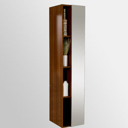 """Fresca - Fresca Walnut Bathroom Linen Side Cabinet w/ 4 Cubby Holes & Mirror - Add some modern style to your bathroom today with the Fresca Walnut Bathroom Linen Side Cabinet, part FST8070GW. Take your lavatory to the next level with this bathroom linen side cabinet that can be used both decoratively and functionally. This linen side cabinet measures W 15 3/4"""" x D 12"""" x H 67"""" and includes four cubby holes, allowing you space to add some decorative charm. Additionally, the side door includes a mirror for convenience."""