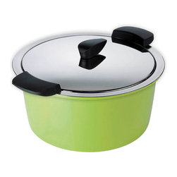 Kuhn Rikon - Kuhn Rikon Hotpan 2 qt. Casserole, Green - Kuhn Rikon's Hotpan feature mirror polished stainless steel construction with a thick aluminum sandwich bottom for fast and even heat distribution. The handles, made of heat resistant phenolic, stay cool and don't take up room on the stove. Hotpan's handy serving holders make a beautiful showing on your table. The brightly colored bowls of high-quality, scratch resistant melamine act as thermal blankets, retaining heat. Food stays hot, fresh and delicious when the stainless steel cook pan is placed in the insulating holder. Hotpan's bowls are dishwasher safe and may be purchased separately. So now you can mix and match your table to coordinate with your kitchen and tableware.